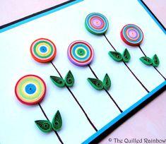 Quilled Button Flowers, Handmade Birthday card, Anniversary card, Wedding card, Engagement, Housewarming, Quilled Coils Card, Flowers Card
