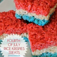 Even I would make these!!!!!-Lissa holiday, july4th, rice krispi, patriotic desserts, krispie treats, july 4th treats, krispi treat, rice crispy treats, parti