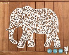 Elephant svg png template elephants svg animal svg flowers commercial use svg elephant floral clipart for cricut and silhouette Kirigami, Paper Cutting, Papercut Art, Elephant Template, 3d Cnc, Vinyl Paper, Decorate Notebook, Elephant Design, Stencils