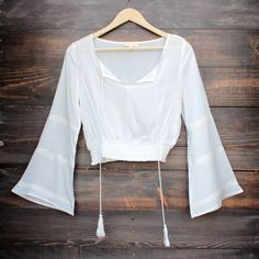 white front tie cropped peasant top