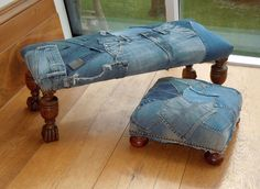 upcycled denim and leather interiors, upcycled denim furniture, recycled leather furniture, recycled jeans furnishings, recycled materials for the home Denim Sofa, Artisanats Denim, Denim Furniture, Recycled Furniture, Furniture Design, Jean Crafts, Denim Crafts, Denim Decor, Denim Ideas