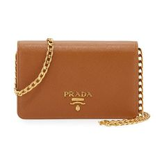 """Saffiano Lux Crossbody Bag by Prada. Prada saffiano leather crossbody bag. Golden hardware. Removable chain-link shoulder strap, 22"""" drop. Flap top with l..."""