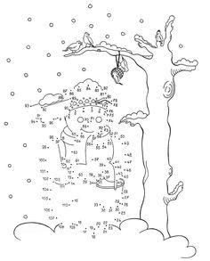 Ausmalbild Malen nach Zahlen: Schneemann kostenlos ausdrucken