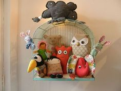 Totally sweet storage for softies. Great idea- would be an easy DIY, you just need a birdcage and some softies! It would be cute to hang on a little girl's wall! cute for K & A's room! Storing Stuffed Animals, Stuffed Animal Storage, Cute Stuffed Animals, Softies, Plushies, Toy Storage, Storage Ideas, Wall Storage, Bedroom Storage