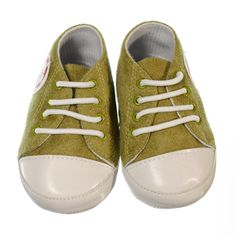 Casual green coloured shoe with soccer ball motif on the side. Pre-walker sneaker for boys with white laces to keep little feet in. Sneakers are ankle high with a non-slip sole to provide grip to surfaces if your little boy crawls, stands or takes a couple of steps. Shoes are made of material and a soft sole making the shoes lightweight and easy to wear.   Price: $29.95  http://www.bubbaboosh.com.au/boys-shoes/Blake