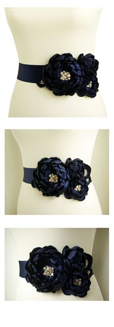 "Navy Blue Wedding Dress Sash - Perfect ""something blue"", navy blue accent or Nautical wedding accessory."