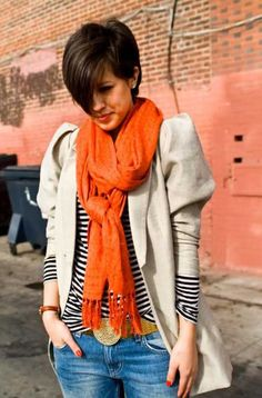 Karla's grown out pixie cut. Mine looks almost exactly like this right now, except my bangs are a little bit shorter. Best Short Haircuts, Cute Hairstyles For Short Hair, Pixie Hairstyles, Short Hair Cuts, Straight Hairstyles, Short Hair Long Bangs, Thick Bangs, Haircut Short, Thick Hair