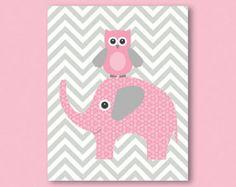 Elefant und Eule, Rosa und grau, Chevron-Muster - print / Plakat, Illustration für Kinderzimmer, Mädchen Zimmer Wand Dekor, tolle Babyparty präsentieren
