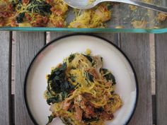 Sausage Spaghetti Squash Bake - replace coconut milk w/regular cream, and switch to spinach for the kale & oregano for the tarragon (personal taste on those last two subs).