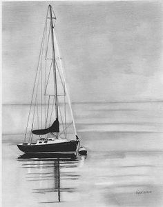 sailboats fine art pencil drawing ocean art sailboat by Neysasart, $35.00
