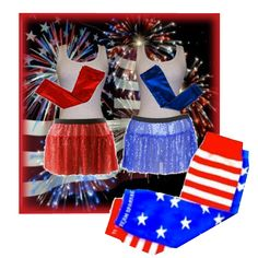 Patriotic Running Costumes - complete with Sparkle Athletic skirts, sleeves and race legs! Perfect for a race or run on the Fourth of July, Memorial Day, etc!