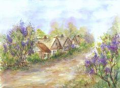 Bzowa wiejska droga - Maria Roszkowska WATERCOLOUR