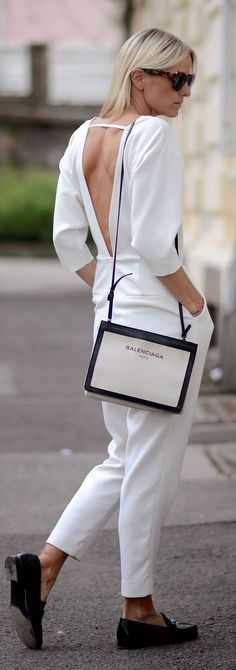 White V-back Jumpsuit Casual Streetstyle