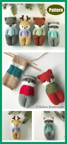 Diy Crafts - knittingforkids,knittingdoll-The Forest Friends Amigurumi is soft and suitable for baby cots. The Forest Friends Amigurumi Free Knitting Baby Knitting Patterns, Knitted Doll Patterns, Knitted Dolls, Knitting For Kids, Easy Knitting, Knitting Projects, Crochet Patterns, Loom Knitting, Knitting Toys