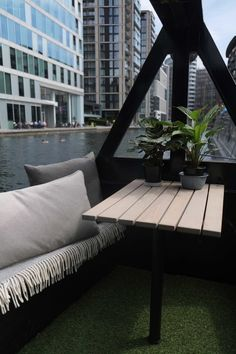 Narrowboat Interior Design: Bow Outdoor Seating - Small Space Design by lunarlunar