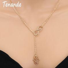 Tenande New Fashion Punk Gold Color Clavicle Chain Small Infinity Hamsa  Hand Necklaces   Pendants for Women Accessories Gift 19a5f592fb1e