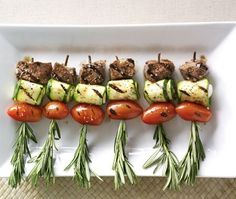 Lamb and veggie kebabs for the barbecue.