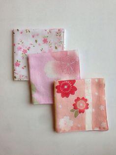 Set of 3 gauze handkerchief, Japanese traditional pattern, Kawaii Sakura on Etsy, ¥851.06