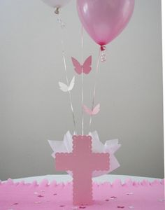 Baptism Decorations for Girls - Balloon Centerpieces with Personalized Cross & Butterfly  - Pink, Lavender and Pink, Lavender, White by SetToCelebrate on Etsy https://www.etsy.com/listing/205321431/baptism-decorations-for-girls-balloon