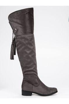 Sivé čižmy mušketierky na plochom podpätku H181G Riding Boots, Knee Boots, Platform, Shoes, Fashion, Wedge, Zapatos, Moda, Shoes Outlet
