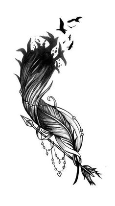 Feather Flock Pfeil Tattoo Design - tattoo - Tattoo Designs for Women Tattoo Plume, Hawaiianisches Tattoo, Tattoo Hals, Cover Tattoo, Body Art Tattoos, Sleeve Tattoos, Tattoo Feather, Headdress Tattoo, Mandala Feather