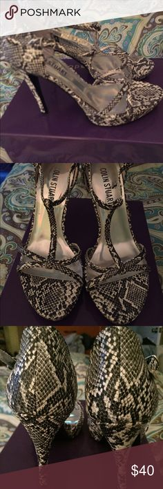 "💋👠Colin Stuart heels size 7 Price FIRM ! Colin Stuart strappy platform heels, black and white textured "" snake skin "" look .In GREAT preowned condition . Size 7. Look awesome on ! No box . Bundle 3& save $ 😊 Colin Stuart Shoes Heels"