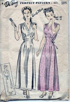 Vintage 40s Nightgown Lingerie Sewing Pattern 5575 B40