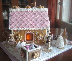 Sydämellinen piparkakkutalo - Onnelin pikku keittiö - Vuodatus.net Girly, Gingerbread, Food And Drink, Christmas Ideas, Biscuits, Cakes, Table, Art, Women's