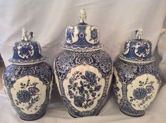 3 Lg Beautiful Delfts Covered Urns; Blue/White for Royal Sphinx by Boch:):)