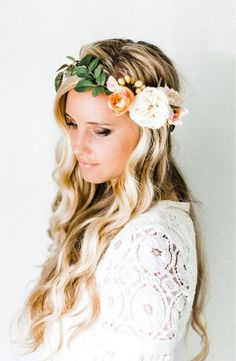 Crafted with lush silk flowers and greenery, this boho-inspired flower crown will look stunning all day long and can be worn again, put on display or passed down to the next generation.