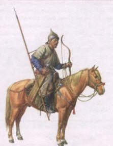 Худ. О. Фёдоров. Золотоордынский конный воин. XIV век.