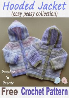 Easy Peasy Hooded Jacket - Simple single and double crochet stitches are used throughout this pattern, I have made it in a variegated yarn, but it will look just as nice in solid colors. Crochet Baby Sweater Pattern, Crochet Baby Sweaters, Baby Sweater Patterns, Crochet Hoodie, Crochet Baby Cardigan, Crochet Baby Clothes, Baby Knitting Patterns, Baby Patterns, Crochet For Boys