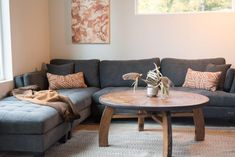 Modern Design Inspiration in a Hand-Built Alaska House Decor, Furniture, Home Theater Rooms, Home Theater Seating, Home, Alaska House, Home Theater Setup, Living Room Photos, Grey Sectional