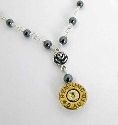 45 Auto Bullet Necklace Guns N Roses Bullet Necklace Custom Bullet Casing Jewelry, Bullet Necklace, Handmade Gifts For Her, Pretty Necklaces, Guns N Roses, Pink Quartz, Oxidized Sterling Silver, Silver Roses, Necklace Lengths