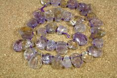Ametrine Round Slice Beads  Purple and Yellow by ABOSBeads on Etsy, $69.99