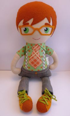 Fabric Doll - boy with glasses - CatinkaHinkebein bei DaWanda