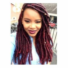 Red faux locs