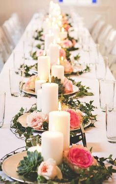 Gold Chargers, Ivy Candles & Flowers. Simple. Wedding Reception Centerpiece Inspiration - Photo: Briana Purser