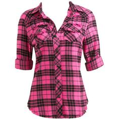 Western Plaid Shirt - Teen Clothing by Wet Seal, hot pink