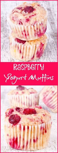 Looking for a easy to make muffin recipe that's also healthy? Use fresh raspberries or frozen raspberries in this Raspberry Yogurt Muffins recipe. Your family may agree that this is the best raspberry muffin recipe ever! Click here to get this super healthy yogurt muffin recipe.