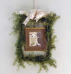 Even to just hang a photo inside a boxwood wreath would be a nice change of pace.