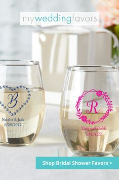 Give your guests the perfect glass to toast with at your bridal shower! Wedding Shower Favors, Bridal Shower Decorations, Bridal Shower Gifts, Bridal Gifts, Personalised Glasses, Summer Bridal Showers, Perfect Glass, Candle Favors, Personalized Wedding