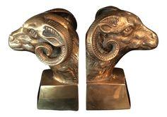 Hollywood Regency Brass Ram Head Bookends- A Pair on Chairish.com