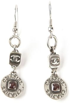 Chanel logo engraved drop earrings on shopstyle.com