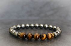 Mens Beaded Bracelet Mens Tiger Eye Bracelet by ADjewellerystudio