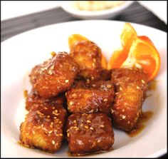 Crispy, Panko Crusted Sesame Orange Glaze Tofu