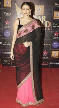 Anuska Sharma Designer Bollywood Pink And Black Saree