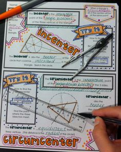 """Centers of a Triangle - """"Doodle Notes"""" for Centroid, Incenter, Circumcenter, and Orthocenter"""