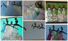 How to make CD collage Courtesy: Surekha Veerendra Babu Draw the figure on card board (already painted with light green or blue & dry) body upper parts colour with black. CD s were cut