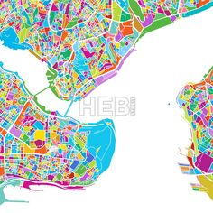 Istanbul Colorful Vector Map by #Hebstreit